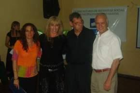 El Intendente Alvarez con la Directora de Discapacidad de la provincia, Sandra Lirio y el conductor del programa de TV