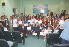 Alumnos del curso de Taquigrafía Parlamentaria y Judicial 2008/2009 con el Vicegobernador Uñac, los Secretarios Legislativo y Administrativo, el titular del ICaP y el profesor Lépez