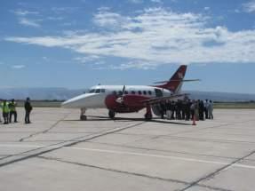 El avión BAE Jetstream 32P de 19 plazas, que cubrirá en 50' la ruta San Juan/Córdoba y viceversa