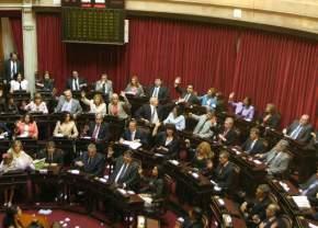 En sus bancas, en el bloque del FpV los senadores Marina Riofrío y Ruperto Godoy; a la derecha Roberto Basualdo junto a Rodríguez Sáa