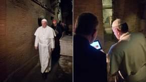 Francisco descendió a las excavaciones de la necrópolis vaticana, recorrió toda la parte central que está bajo las Grutas Vaticanas (cripta) y el templo, escuchando las explicaciones de Comastri y Zander