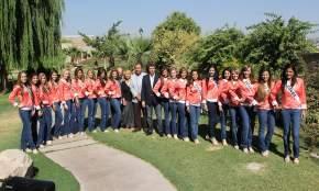 En el jardín del hotel Aire Andino las candidatas de los 19 departamentos posaron con las autoridades