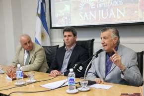 El gobernador Sergio Uñac, el ex mandatario y actual diputado nacional, José Luis Gioja y el vicegobernador Marcelo Lima