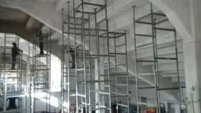 Trabajos de refuerzos en la tribuna este del Estadio Abierto del Parque de Mayo
