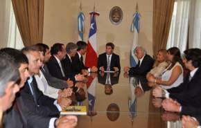 Luego la comitiva mantuvo una reunión en la sala Eloy Camus