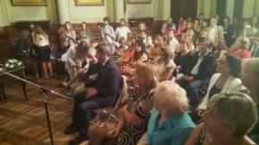 Gioja y Uñac en el acto de entrega de distinciones a mujeres que realizan un especial aporte a su comunidad en materia de promoción de los derechos humanos