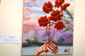 """Obra de la muestra pictórica """"Las que van a morir te saludan"""" de la profesora Carolina Castro y el licenciado Alberto Espinosa"""