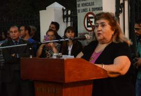Invocación religiosa a cargo de Dora Moreta, representante de la iglesia Evangélica Metodista Argentina e integrante de la Mesa Interrreligiosa de San Juan