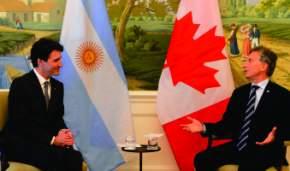 Mauricio Macri se reunió con el primer Ministro de Canadá, Justin Trudeau, en el Salón Concorde del Hotel Hay Adams