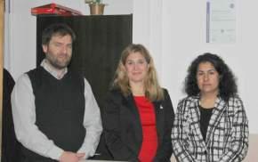 Presidente del Concejo Deliberante capitalino, Juan Pablo Dara; secretaria Administrativa del cuerpo, Alejandra Caneva; directora de Sistema de Calidad, Noelia Martínez