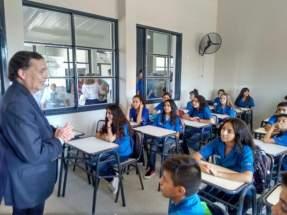 Intendente Juan Carlos Abarca en el inicio del año lectivo en el flamante edificio de la EPET Nº 1 - Albardón