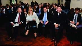 El presidente de la Cámara federal de Córdoba, Abel Sánchez Torres, la jueza Karina Rosario Perilli, el camarista Javier Leal de Ibarra, el juez federal Ariel Lijo y el secretario de su juzgado, Diego Arce