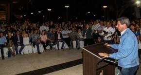 El gobernador Uñac en inauguración iluminación LED de Av. San Martín